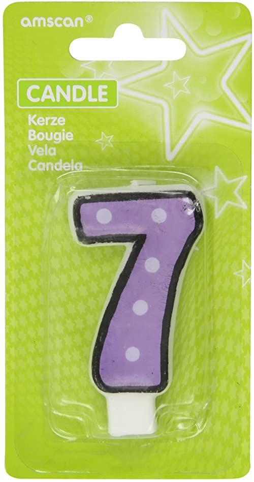 Amscan Numer 7 świeca urodzinowa z kropkami, fioletowa