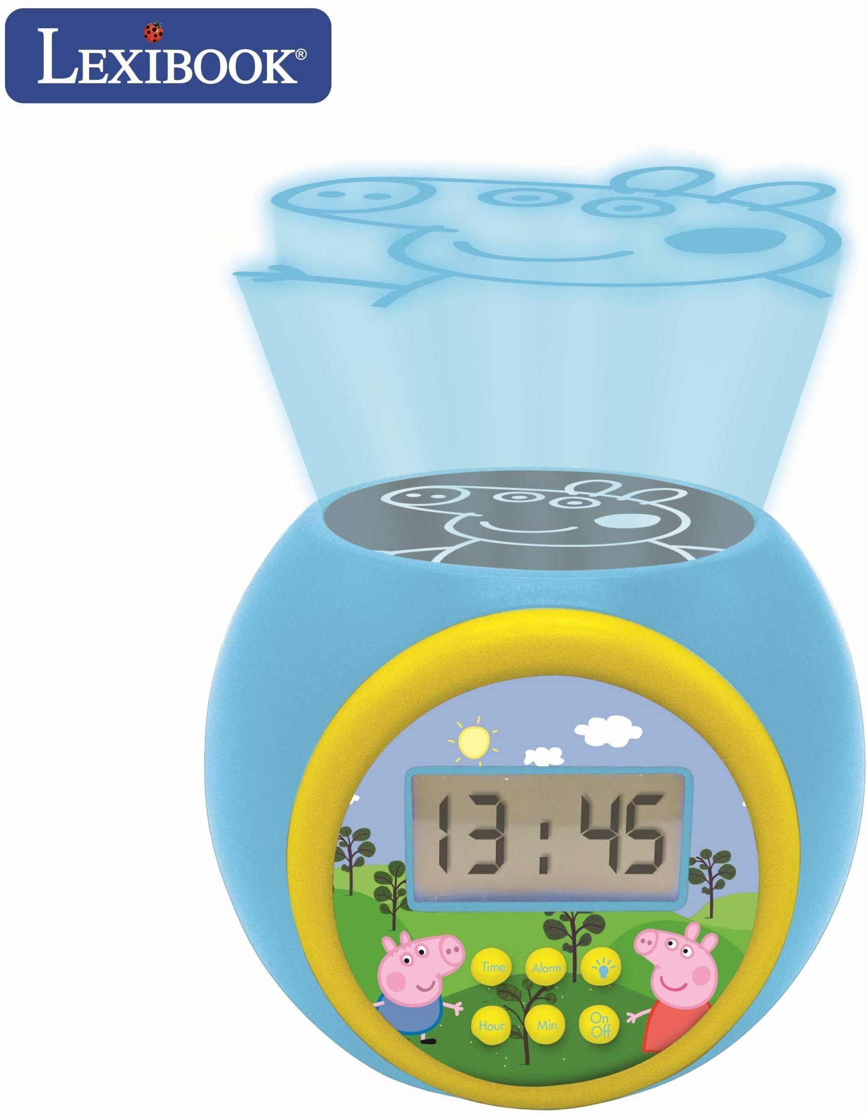Lexibook RL977PP zegar projektorowy świnka Peppa z funkcją alarmu drzemki, lampka nocna z timerem, ekran LCD, zasilanie bateryjne, niebieski/żółty