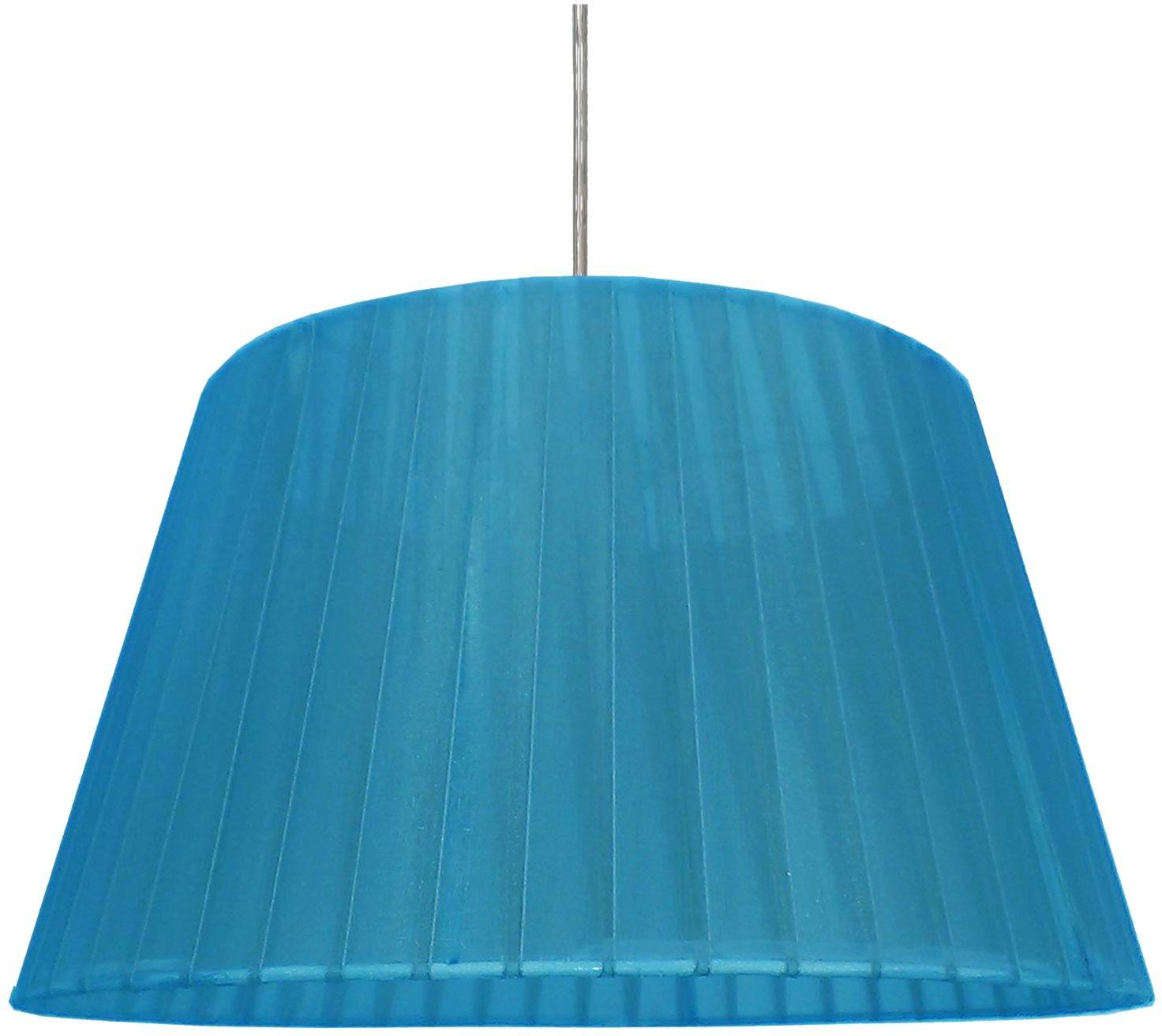 Candellux TIZIANO 31-27092 lampa wisząca abażur stożkowy z tkaniny niebieskiej 1X60W E27 37 cm