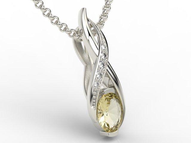 Wisiorek z białego złota z cytrynem i brylantami apw-69b