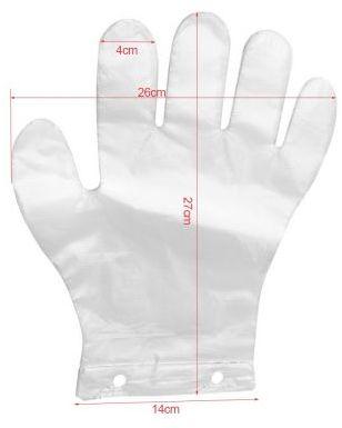 """Rękawiczki foliowe jednorazowe """"ZRYWKI"""" z 2 dziurkami HDPE"""