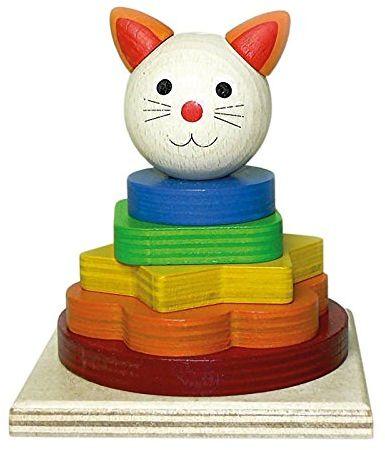 Hess drewniana zabawka 14853  wieża do układania w stos kot, 9 x 9 x 10,5 cm, kolorowa