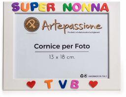 Artepassion ramka na zdjęcia z drewna z napisem Super Rock Tvb i ozdobiona sercami, wielokolorowa, 13 x 18 cm
