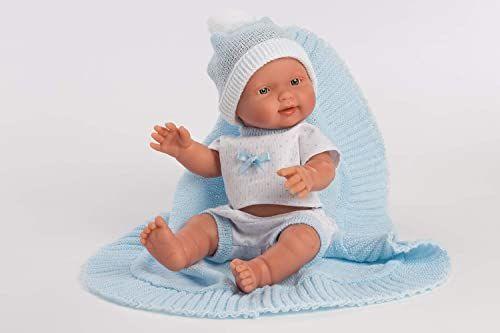 Llorens 1026305 Bebito Azul lalka z niebieskimi oczami i winylowym korpusem, lalka dziecięca w białym kolorze, łącznie z kocem i smoczkiem, 26 cm