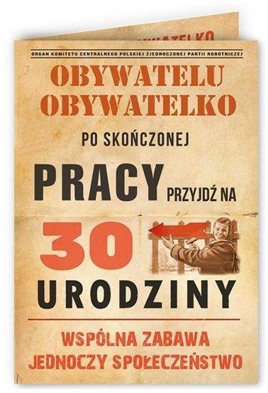Zaproszenia na 30 urodziny PRL z kopertami 10 sztuk ZX6815-10