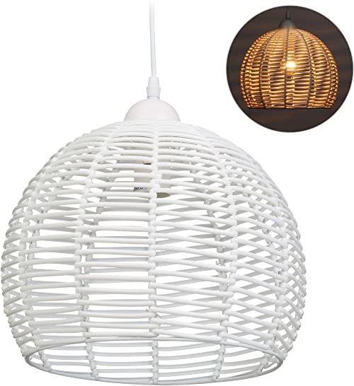 Relaxdays lampa rattanowa do kuchni, salonu i jadalni, gniazdo E27, 40 W, lampa wisząca, wys. x gł.: 120 x 28 cm, biała, metal, tworzywo sztuczne
