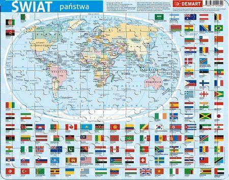Puzzle ramkowe Świat administracyjna