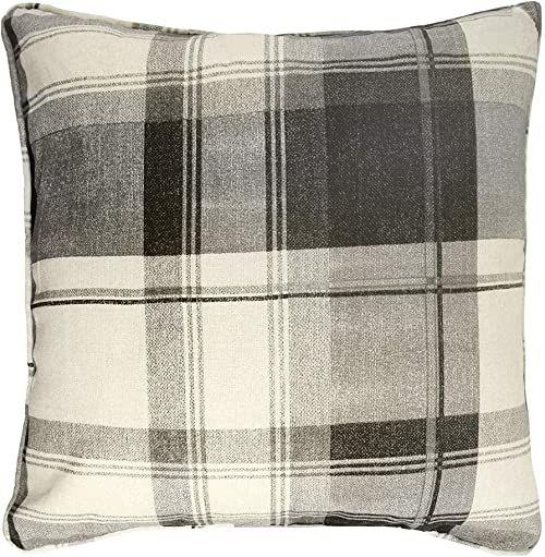 Fusion - Kratka balmoralna - poduszka wypełniona 100% bawełny - 43 x 43 cm w łupku
