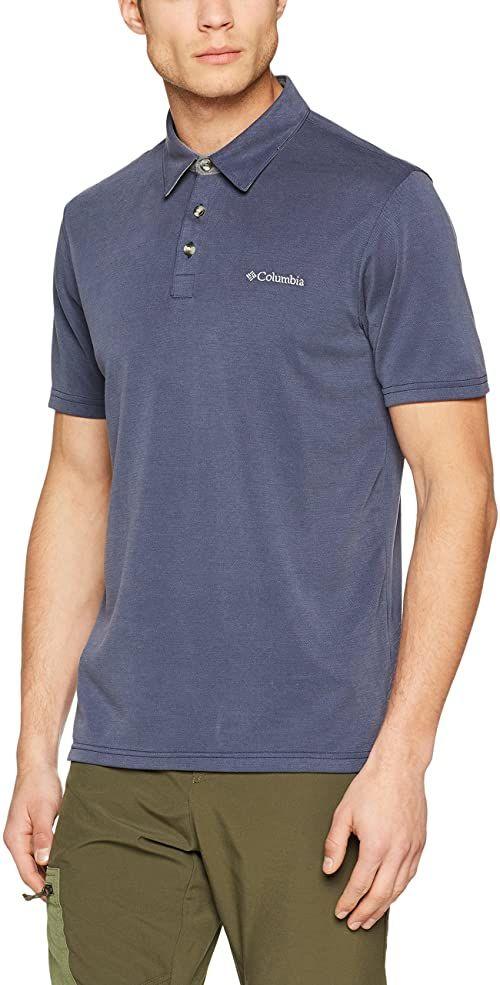 Columbia koszulka męska z krótkim rękawem Nelson Point Graphic Short Sleeve Tee, poliester/Modal niebieski Blau (Collegiate Navy) S