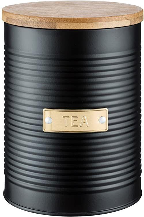 Typhoon Pojemnik na herbatę z pokrywką bambusową, stalowy, matowy czarny i złoty, 1,4 l