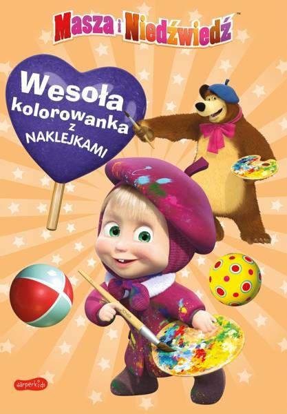 Masza i Niedźwiedź. Wesoła kolorowanka z naklejkami - Opracowanie zbiorowe