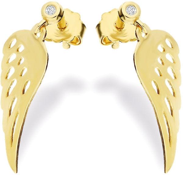 Złote kolczyki 585 wiszące skrzydełka z diamentem