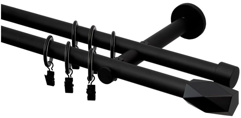 Karnisz Heksagon 200 cm podwójny czarny mat 19 mm Inspire