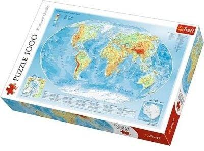 Puzzle TREFL 1000 - Mapa fizyczna świata, Physical map of the world