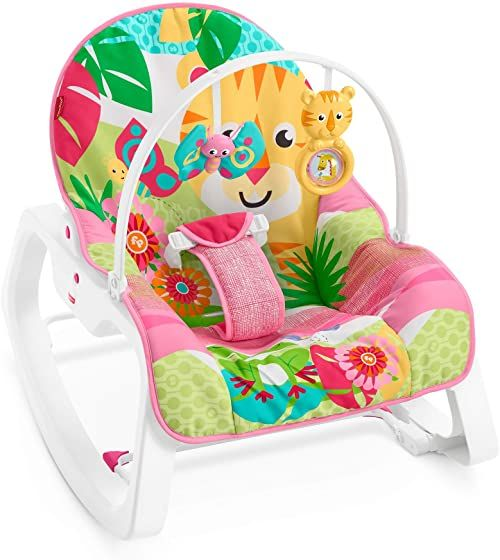 Fisher-Price GYC83  fotelik dziecięcy na biegunach lub stałe siedzisko, różowa poduszka do siedzenia z dwiema uroczymi zabawkami zwierzęcymi i regulowanym oparciem