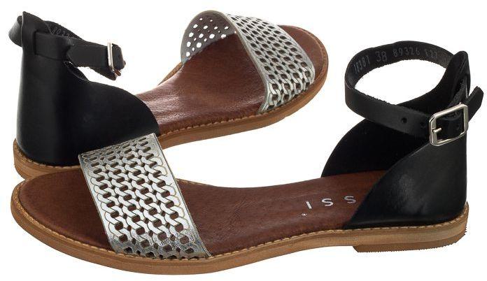 Sandały Nessi 18381 Czarny 11 + Srebro (NE80-a)