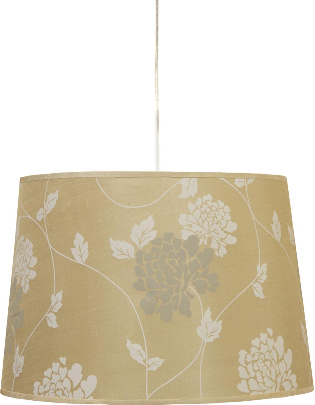 Candellux KAREN 31-03225 lampa wisząca stożkowy abażur z roślinnym motywem biały 1X60W E27 35 cm