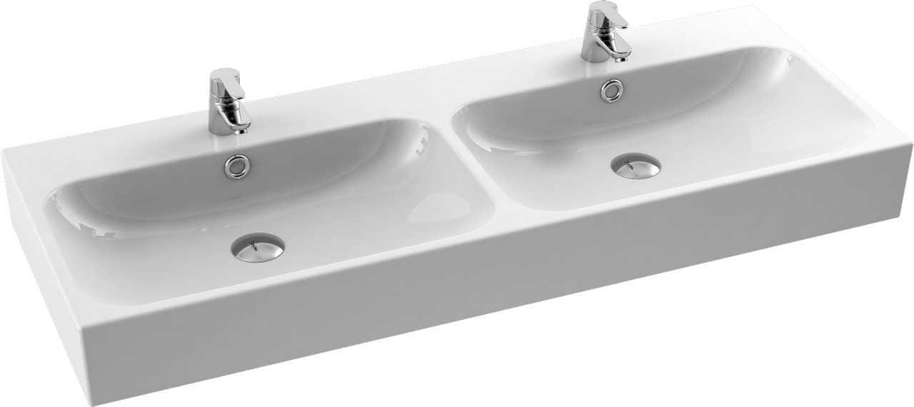 CeraStyle umywalka podwójna Pinto, 120 cm 080700-u