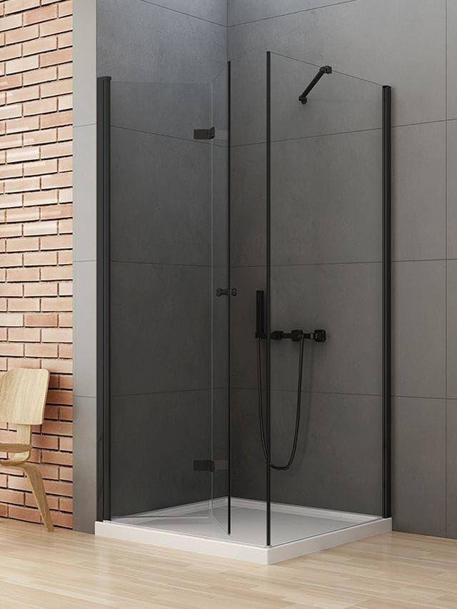 New Trendy New Soleo Black kabina kwadratowa drzwi lewe 70 x 70 cm, wys. 195 cm, szkło czyste 6 mm D-0233A/D-0113B