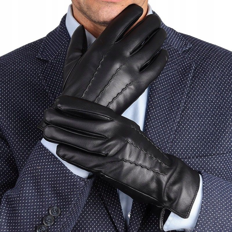 Rękawiczki Eco Skóra męskie dotykowe ocieplane ''miś'' RKW1-M rozm.M