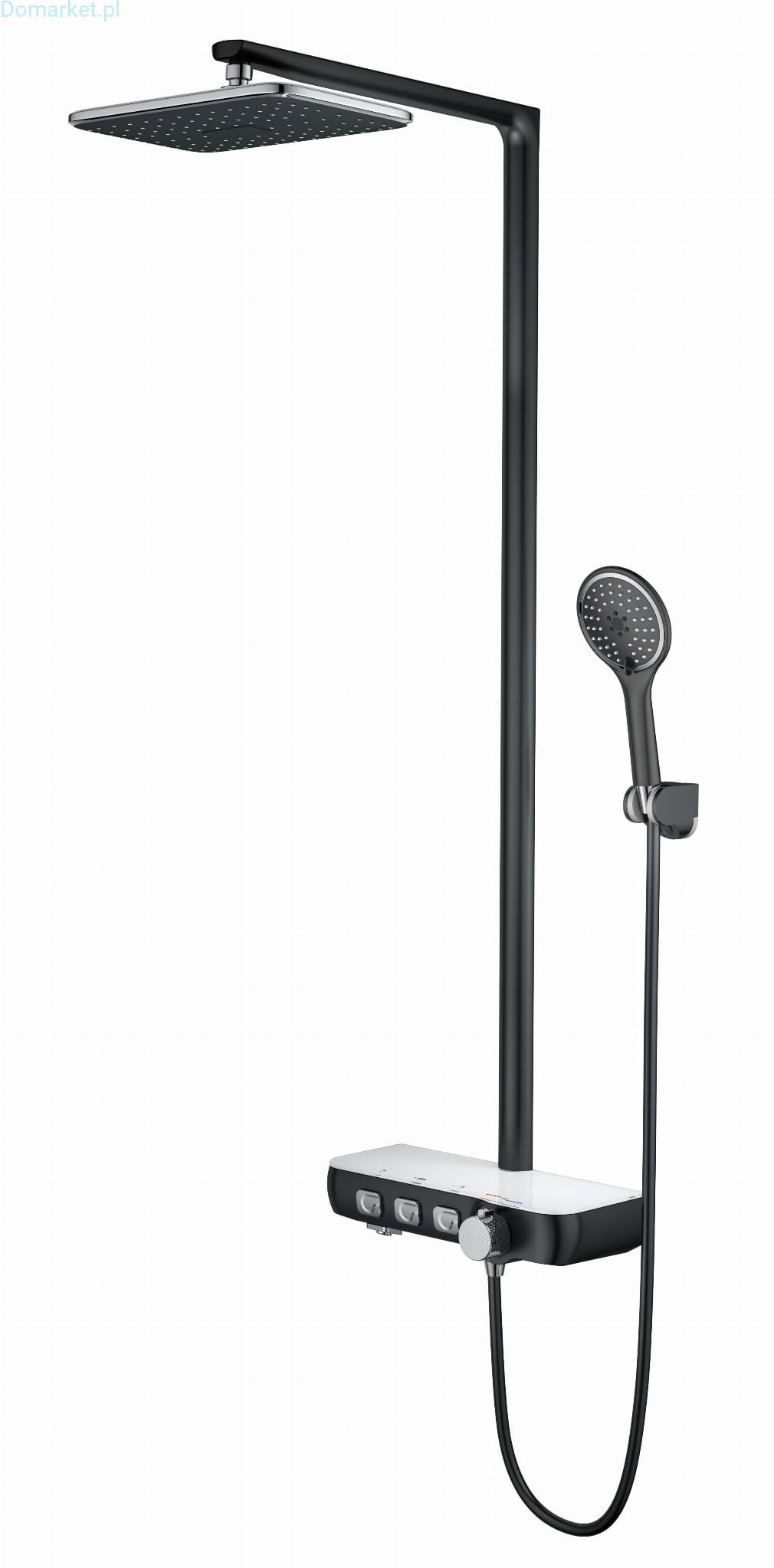 Zestaw Prysznicowy LX550 SZARY MAT/CHROM/SZKŁO: DESZCZOWNICA SŁUCHAWKA WYLEWKA