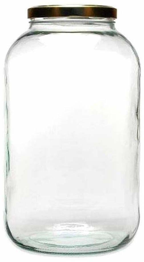 mikken Słoik XXL na przetwory 4250 ml z nakrętką, słoik do przechowywania pojemnik szklany wraz z etykietą do opisywania pojemnik na zapasy, szkło, złoty, 15,9 x 15,9 x 27,7 cm