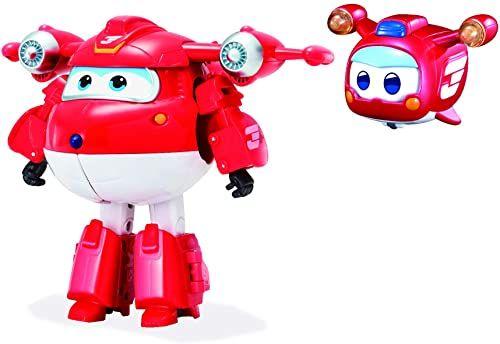 Super Wings Transforming Jett Supercharge przekształcalny robot samolotowy z super mini figurką serii animacji, zabawka dla dzieci od 3 lat, EU750421