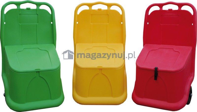 Mobilny pojemnik UNIKART na materiały sypkie, pojemność 75 l (kolor czerwony)