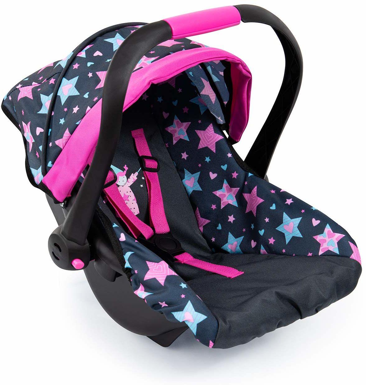 Bayer Design 67906AA zabawka, fotelik samochodowy Easy Go for Neo Vario wózek dziecięcy z pokrywą, akcesoria dla lalek, czarny, wróżka ze wzorem