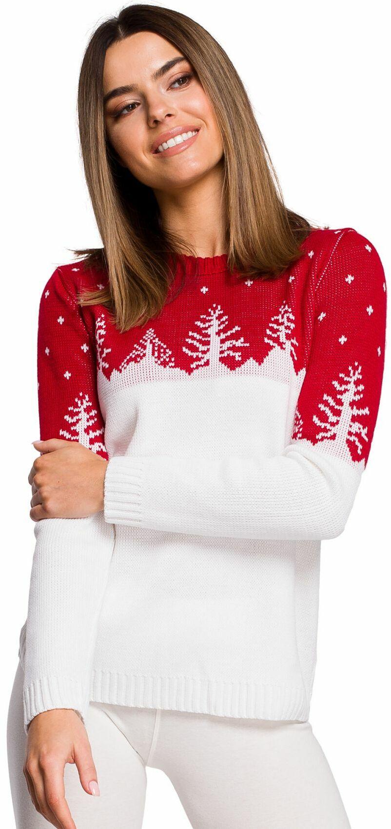MXS05 Sweter świąteczny z motywem choinek - czerwony