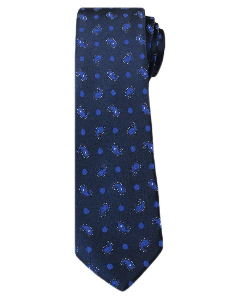 Stylowy Krawat Męski w Oryginalny Wzór PAISLEY- 6 cm - Angelo di Monti, Granatowy KRADM1312