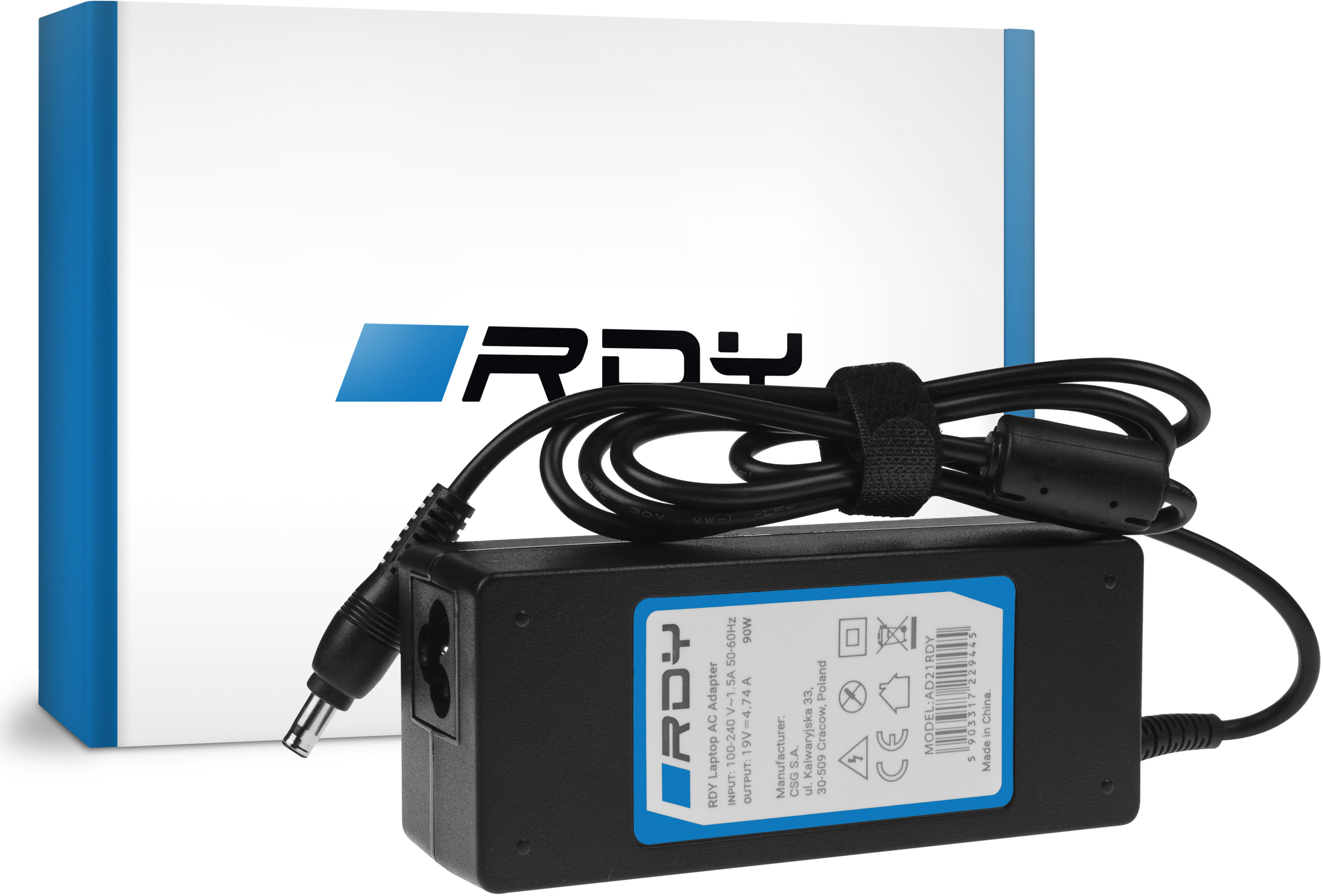 Zasilacz Ładowarka RDY 19V 4.74A 90W do Samsung R510 R522 R525 R530 R540 R580 R780 RV511 RV520 NP350E5C NP350V5C