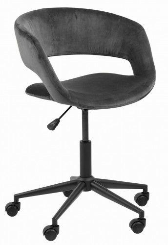 Filigranowy aksamitny fotel biurowy Grace szary