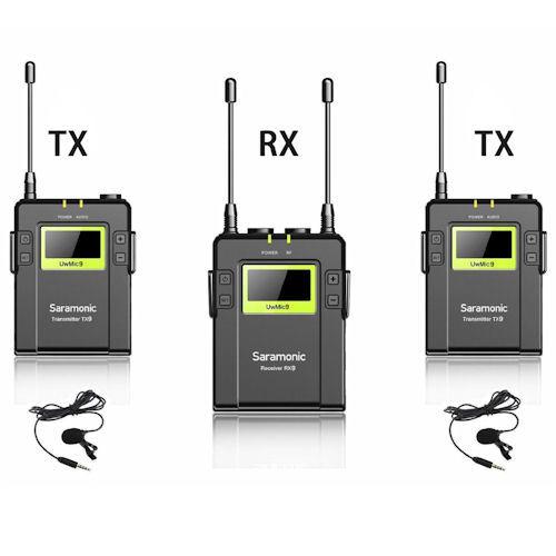 Saramonic UwMic9 Kit 2 (RX9 + TX9 + TX9) - zestaw bezprzewodowy audio, 2x nadajnik + odbiornik Saramonic UwMic9 Kit 2 (RX9 + TX9 + TX9)