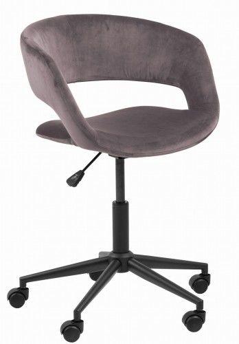 Filigranowy aksamitny fotel biurowy Grace różowy