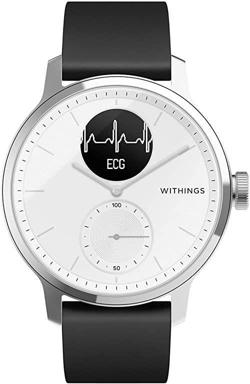 Withings Unisex Adult Scanwatch 42 mm White Hybrid Smartwatch z EKG, czujnikiem tętna i oksymetrem, biały