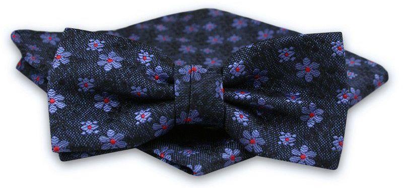 Ciemna Granatowa Melanżowa Mucha Męska -ALTIES- z Taką Samą Poszetką, w Niebieskie Kwiatki MUALTS0632