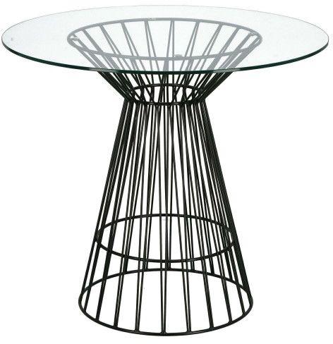 Szklany okrągły stół Cage na czarnej nodze