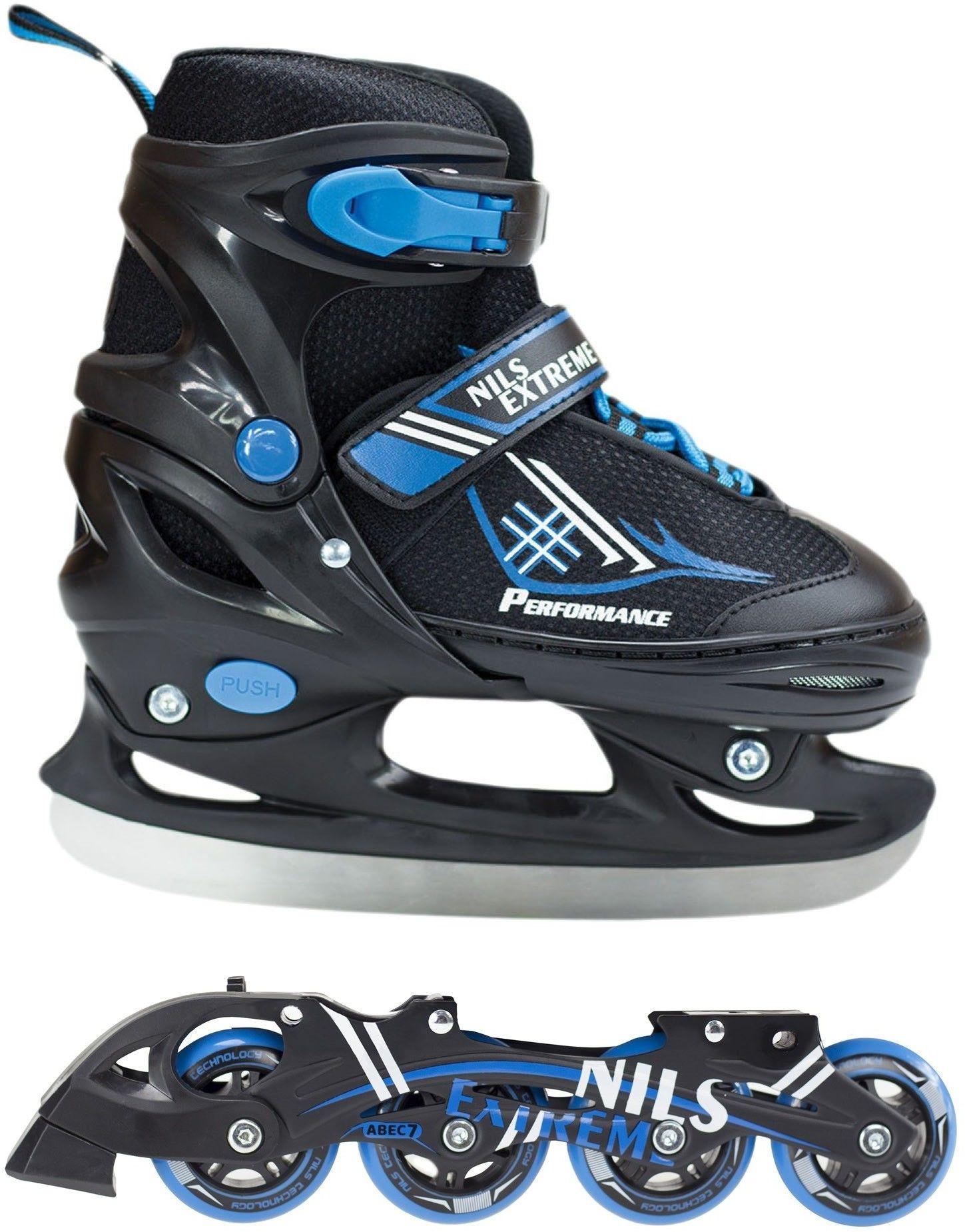 Łyżworolki Nils Extreme NH7104 A 2w1 łyżwy, rolki czarno-niebieskie Rozmiar buta: 30-33