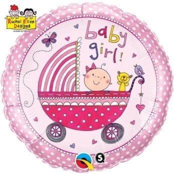 """Balon foliowy """"Baby Girl - różowy wózek"""" 18"""""""