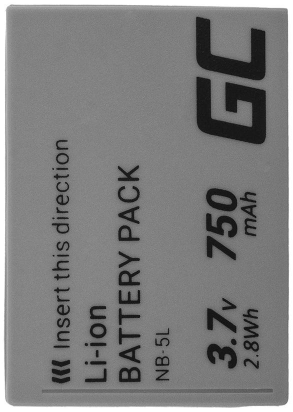 Akumulator Bateria NB-5L Green Cell do aparatu Canon PowerShot SX220HS SX230HS Digital IXUS 90IS 800IS 850IS 860IS 3.7V 750mAh