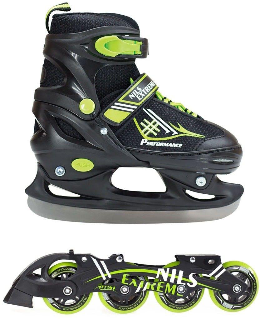 Łyżworolki Nils Extreme NH7104 A 2w1 łyżwy, rolki czarno-zielone Rozmiar buta: 30-33