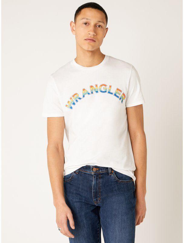 Wrangler T-Shirt Rainbow W7F2D3989 Biały Regular Fit