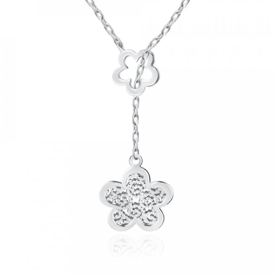 Srebrny Naszyjnik 925 Boho Kwiatek Grawer