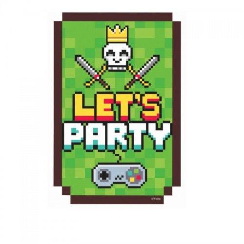 Zaproszenia urodzinowe Game On, 6 szt.