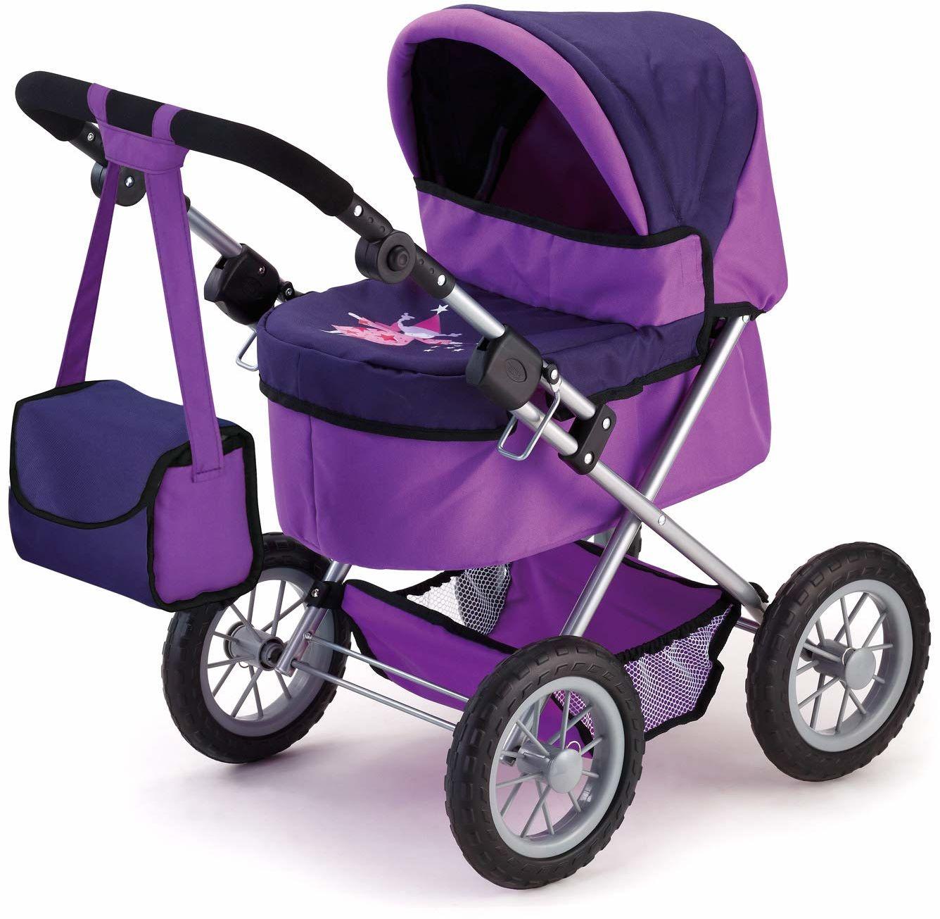 Bayer Design 13012AA Trendy wózek dla lalek z regulacją wysokości, składany, z torbą, motyw: wróżka, liliowy