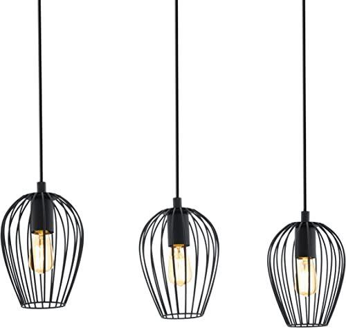 Lampa wisząca EGLO NEWTOWN, 3-ogniskowa lampa wisząca vintage, lampa wisząca retro ze stali, kolor: czarny, oprawka: E27