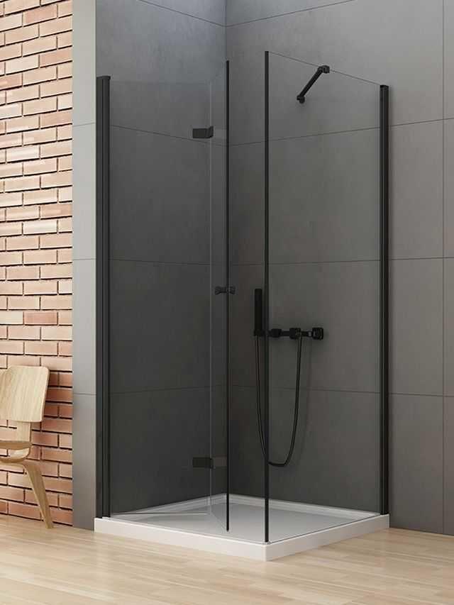 New Trendy New Soleo Black kabina prostokątna drzwi lewe 70 x 90 cm, wys. 195 cm, szkło czyste 6 mm D-0233A/D-0115B