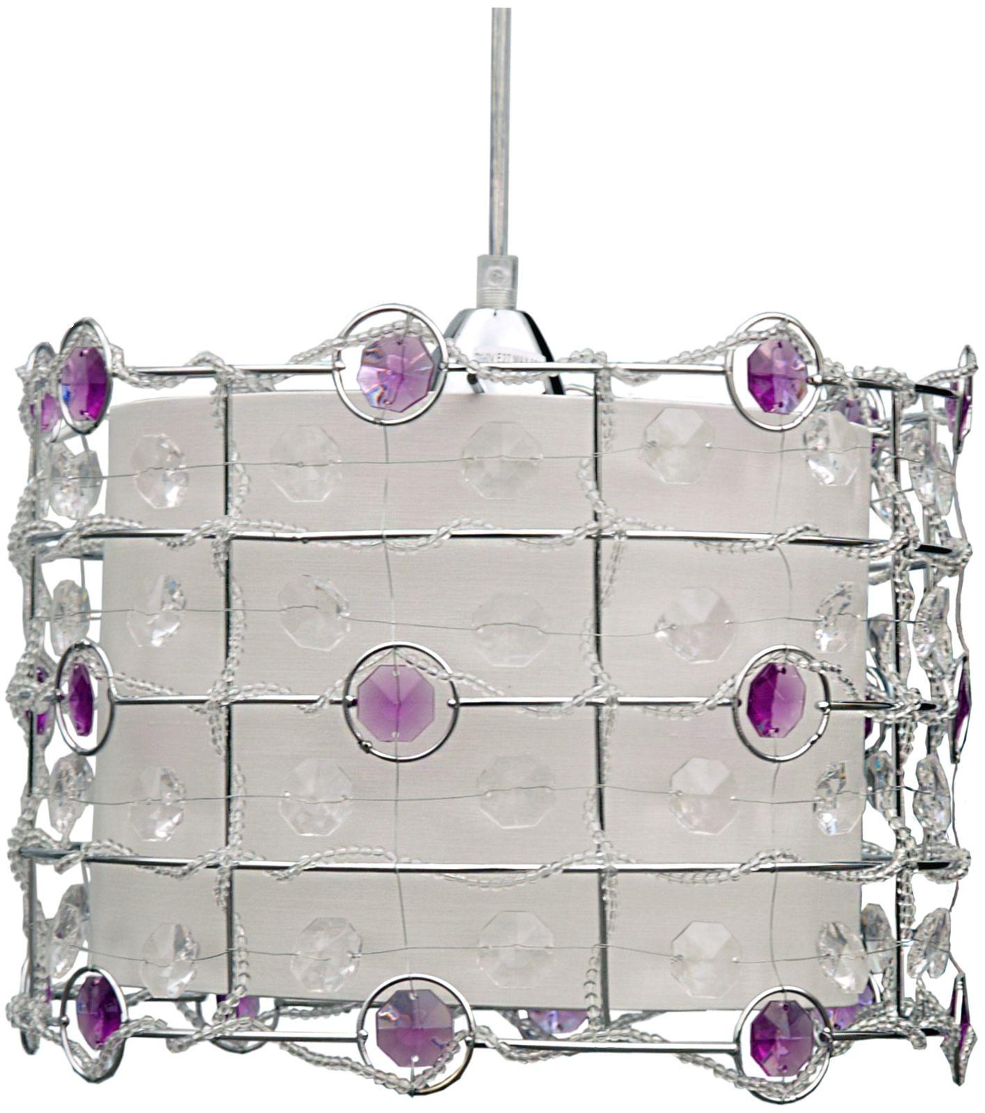 Candellux SENECA 31-02976 lampa wisząca kryształ mocowany w kloszu fiolet 1X40W E27 30 cm