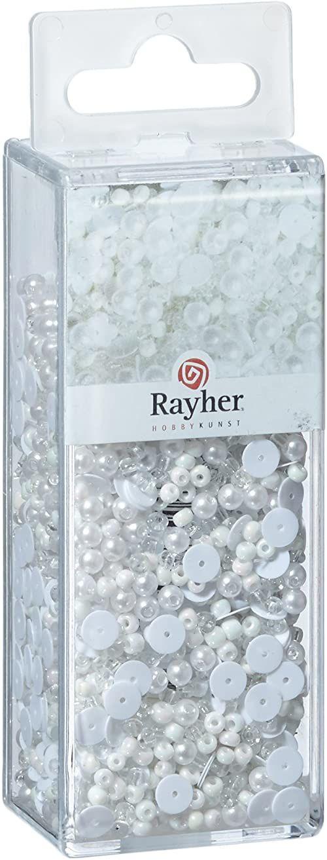 Rayher 14538701 mieszanka koralików z cekinami i szklanymi perłami, 80 g i 50 m drutu 0,3 mm ø, perły do majsterkowania, koraliki Rocailles, cekiny, perły woskowane, drut do nawlekania